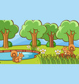 squirrels in forest vector image vector image