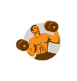 Strongman Crossfit Lifting Dumbbells Circle Retro vector image vector image