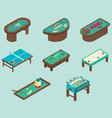 table game flat isometric icon set vector image vector image