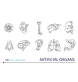 Thin line icons - artificial organs vector image