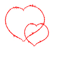 Two Scrawled Hearts vector image vector image