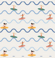 vintage surfing people on waves seamless pattern vector image