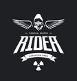 vintage toxic rider in gas mask logo vector image vector image