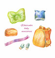 watercolor hand-drawn icons of baby accessories vector image vector image