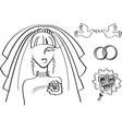 wedding drawing vector image vector image
