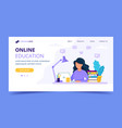 woman with laptop landing page education or vector image vector image