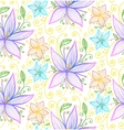 Blue and violet flowers seamless pattern vector image