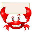 Crab cartoon with blank sign vector image