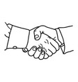 business handshake - sketch hand vector image