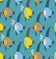 Marine fish color seamless pattern Repeating vector image