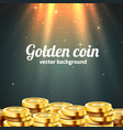 a lot coins with light beam jackpot or success vector image vector image
