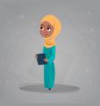 arab girl hold books small cartoon pupil muslim vector image vector image