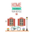 bicycle in front house entrance print for vector image vector image