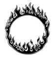 black silhouette fiery ring isolated on white vector image vector image