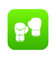 boxing gloves icon digital green vector image