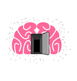 Brain with door open Open mind vector image