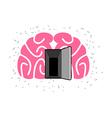 Brain with door open Open mind vector image vector image
