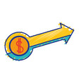 business arrow with coin to business strategy vector image