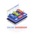 car dealership composition vector image vector image