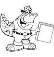 Cartoon dinosaur holding a book vector image