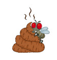 cartoon poop shit and flys isolated on white vector image