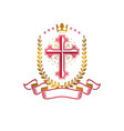 christian cross golden emblem created with royal vector image