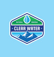 clear water concept logo badge design mineral vector image