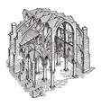 constructive system of a gothic church the vector image vector image