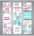 cupcake vertical banners with handdrawn cupcakes vector image vector image