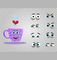 cute emoji set of lilac cup with changeable eyes vector image vector image