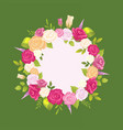decorative wreath made of gentle rose flowers vector image