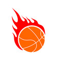 fire basketball flame ball emblem game sport team vector image