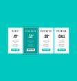 four tariffsinterface for site web design vector image vector image