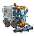 funny small sweeper car with eyes vector image