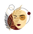 futuristic female face collage with palm tree vector image vector image