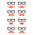 Geek glasses and ginger moustache or mustache icon vector image vector image