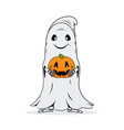 ghost with pumpkin in hands on white background vector image