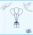 gift box with balloons line sketch icon isolated vector image