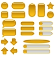 Gold glass buttons set vector image vector image