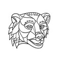 grizzly bear head mosaic black and white vector image vector image