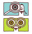 hand drawn cartoon characters - big eyes vector image vector image