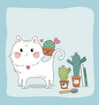 hand drawn sketch cute cat and cactus vector image vector image