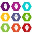 iceberg icon set color hexahedron vector image vector image
