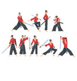 japanese samurai wearing red karate suit and vector image vector image