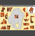 jigsaw puzzle game with hyena animal character vector image vector image