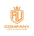 letter au initial with shield and crown luxury lo vector image vector image