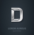 Letter D elegant silver font Template for company vector image