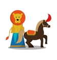 Lion and horse of carnival design vector image