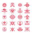 love symbols for wedding day monochrome badges vector image
