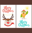 merry christmas banners with friendly animals vector image vector image